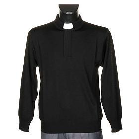 Polo clergy nera maglia calata s1