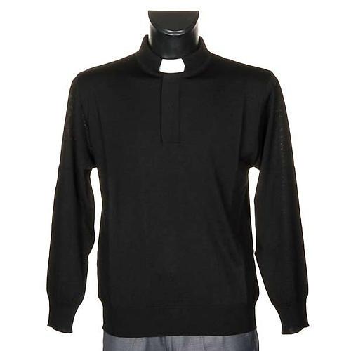 Polo clergy nera maglia calata 1