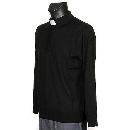 Polo clergy nera maglia calata 2