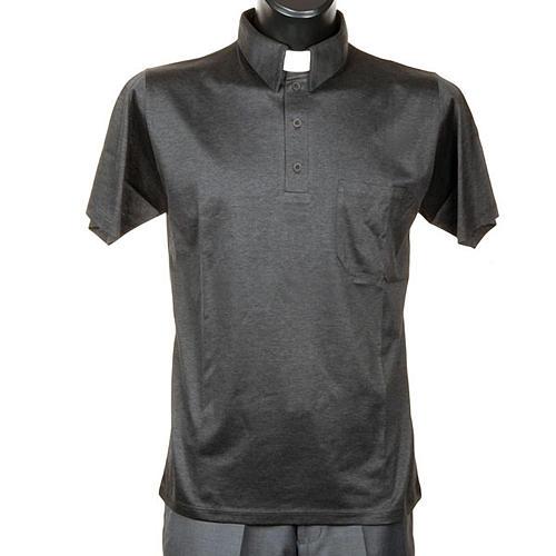 56f1ccfcf3 Camisa polo gola clássica cinzento escuro fio de Escócia 1 ...
