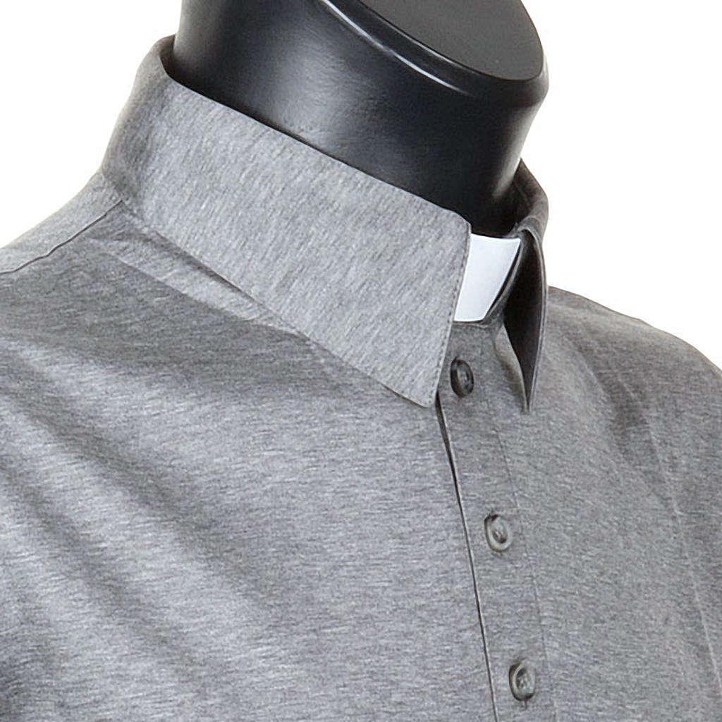 STOCK Clergy polo shirt light grey lisle thread 4