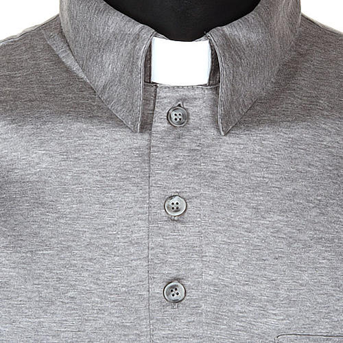 Clergy polo shirt light grey lisle thread 4