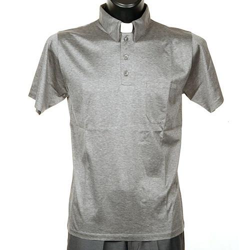 Polo colletto civile grigio chiaro filo di Scozia 1