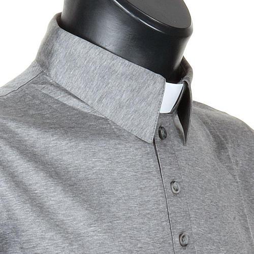 Polo colletto civile grigio chiaro filo di Scozia 5