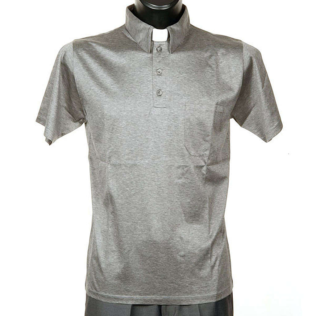STOCK Light Grey Clergy polo shirt lisle thread 4