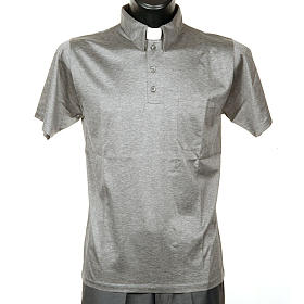 STOCK Light Grey Clergy polo shirt lisle thread s1