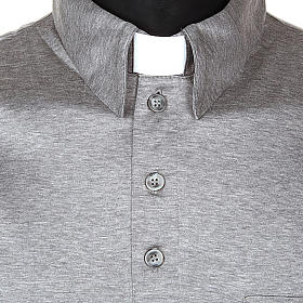 STOCK Light Grey Clergy polo shirt lisle thread s4