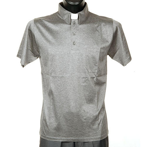 STOCK Light Grey Clergy polo shirt lisle thread 1