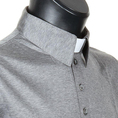 STOCK Light Grey Clergy polo shirt lisle thread 5