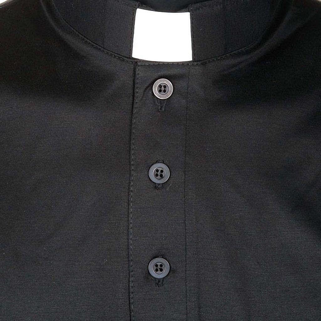Priesterpolo Kurzarm Florgarn schwarz 4