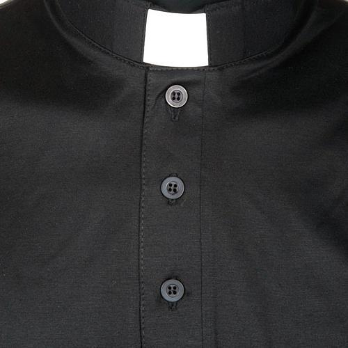 Priesterpolo Kurzarm Florgarn schwarz 3