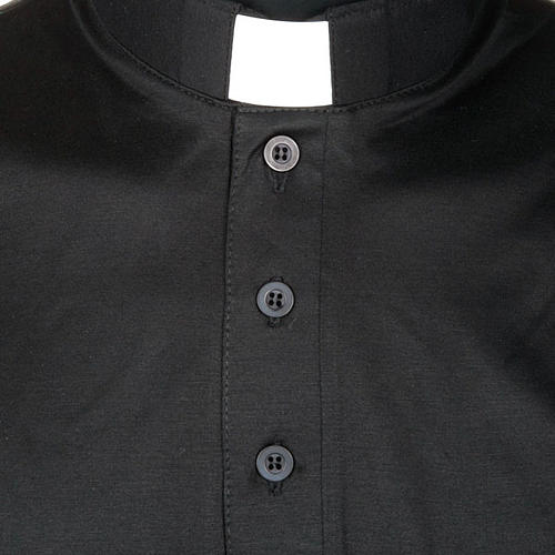 Polo clergy manches courtes fil d'écosse noire 3