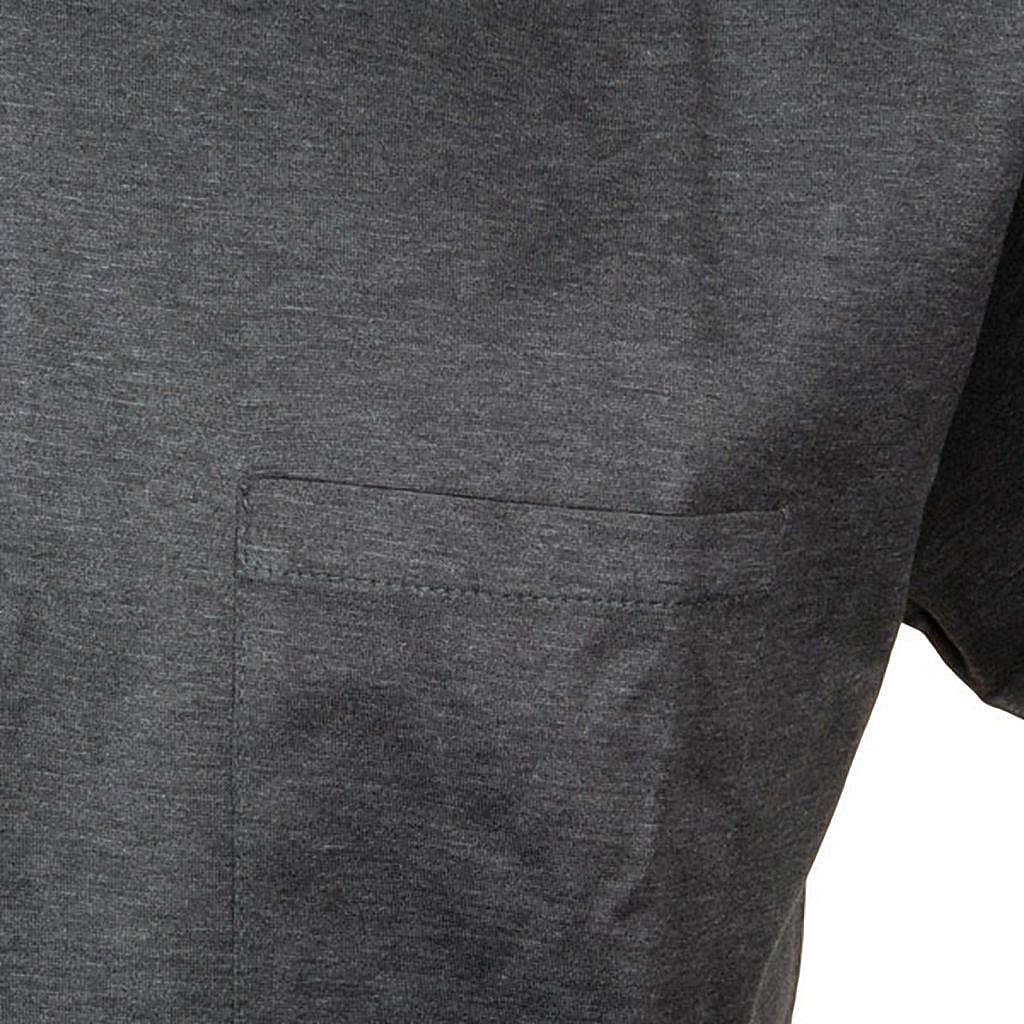 Clergy polo shirt short sleeves dark grey lisle thread 4