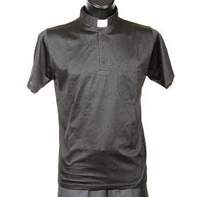 Clergy polo shirt short sleeves dark grey lisle thread s1