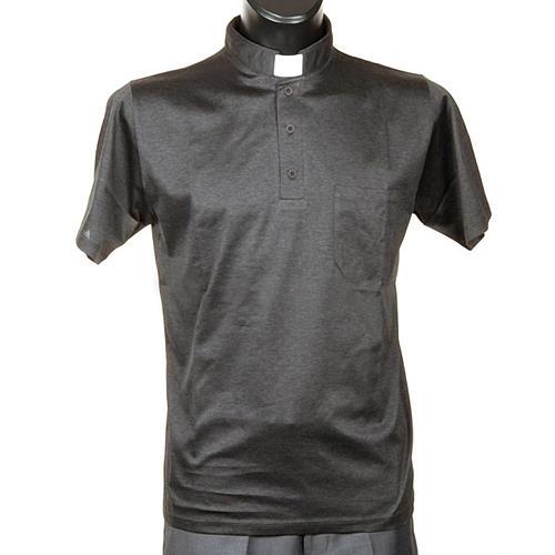 Clergy polo shirt short sleeves dark grey lisle thread 1