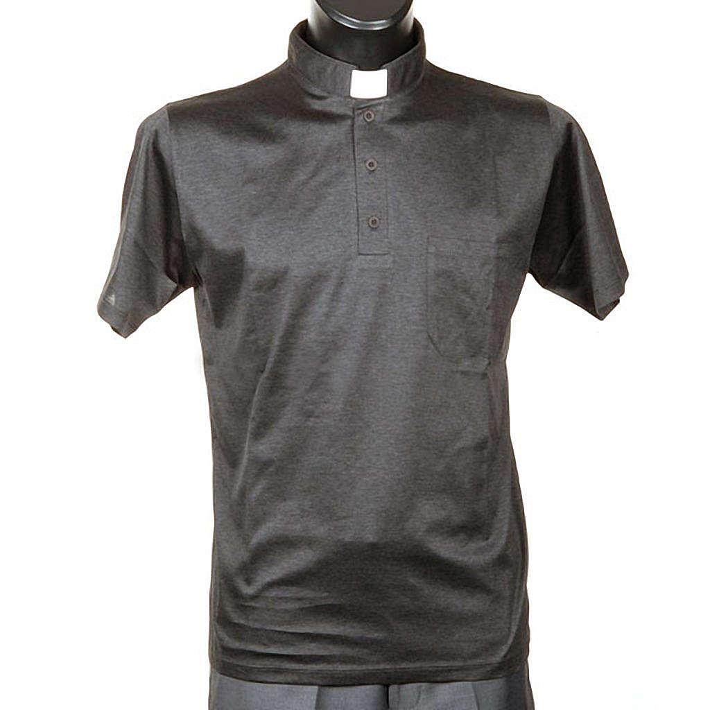 Polo manica corta filo di Scozia grigio scuro 4