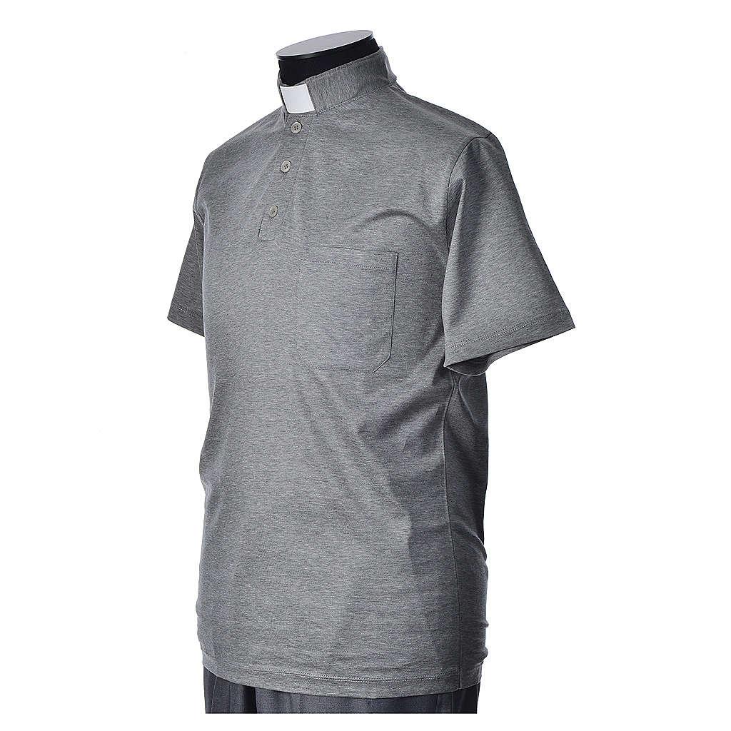 Polo clergy manches courtes fil d'écosse gris claire 4