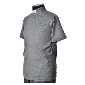 Polo clergy manches courtes fil d'écosse gris claire s2