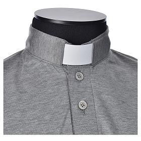 Polo clergy manches courtes fil d'écosse gris claire s4