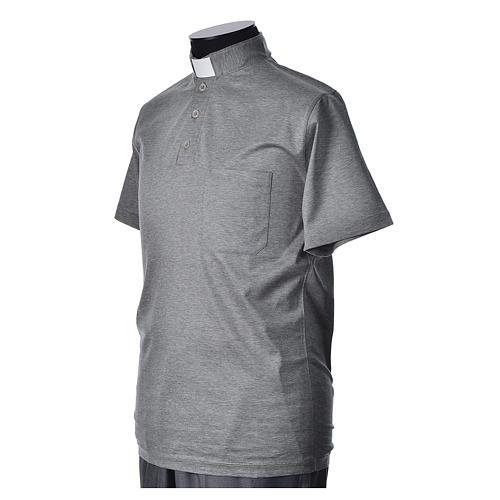 Polo clergy manches courtes fil d'écosse gris claire 2