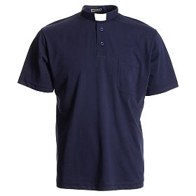 Camisas Polo Cuello Clergy: Polo camiseta clergy azul oscuro 100% algodón