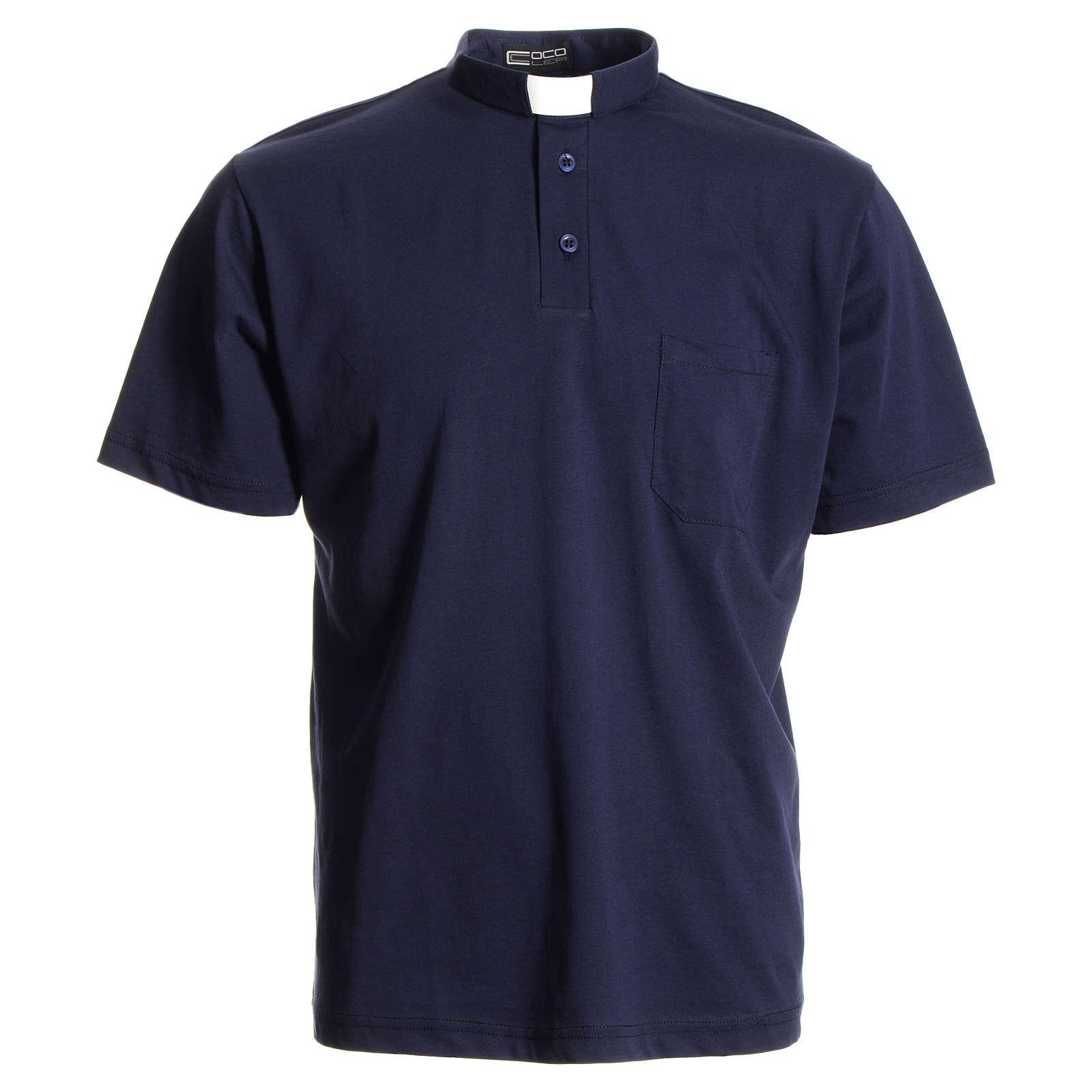 Polo clergy bleu foncé 100% coton 4