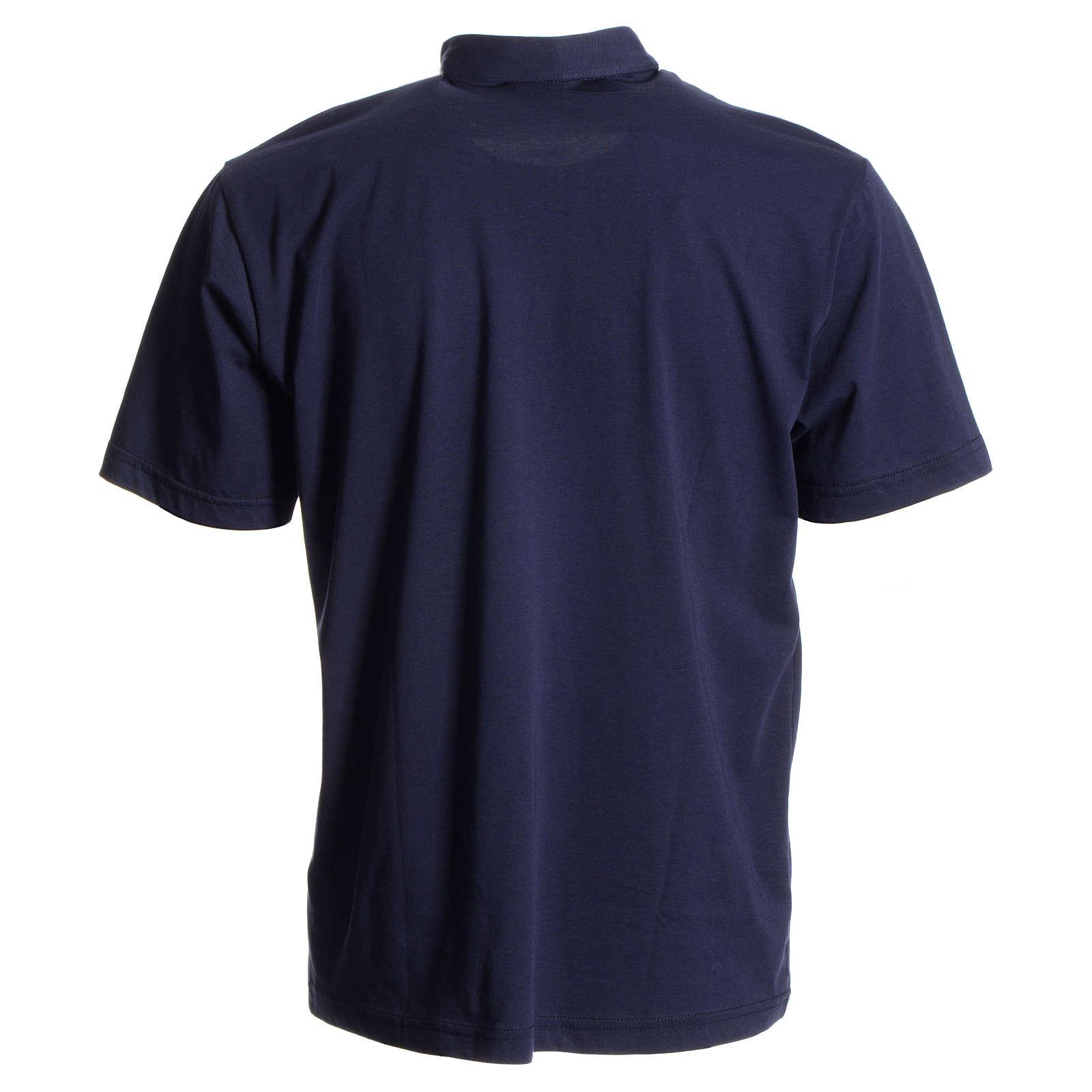 Polo maglia clergy blu scuro 100% cotone 4