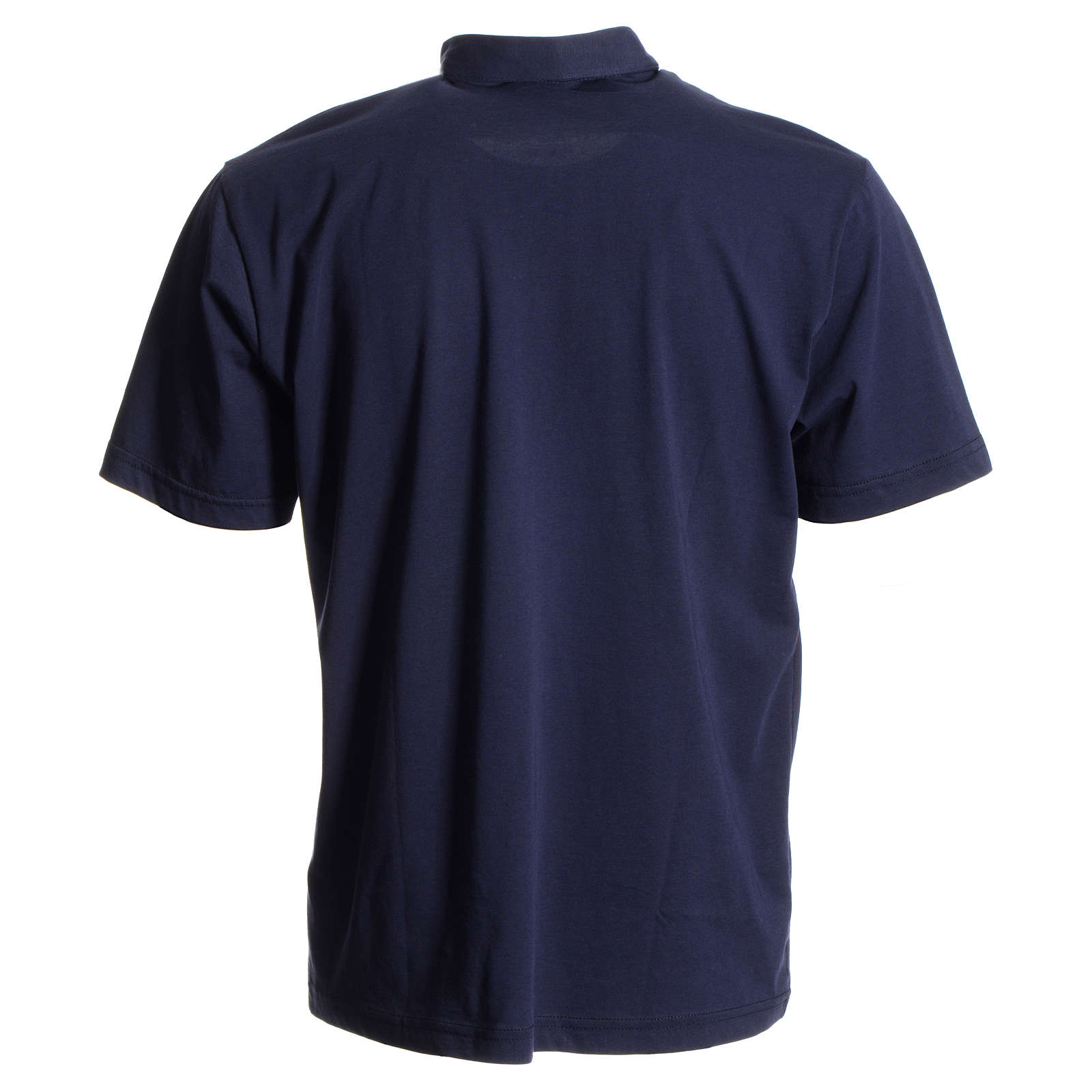 Bluza polo z kołnierzykiem pod koloratkę ciemnoniebieska 100% bawełna 4
