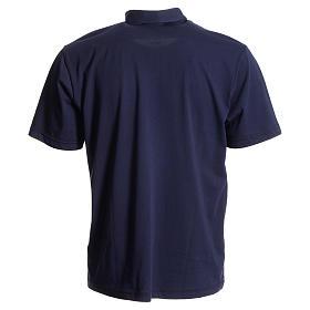 Bluza polo z kołnierzykiem pod koloratkę ciemnoniebieska 100% bawełna s2