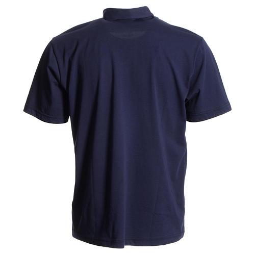 Bluza polo z kołnierzykiem pod koloratkę ciemnoniebieska 100% bawełna 2