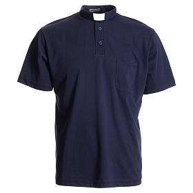 Camisa polo clergy azul escuro 100% algodão s1