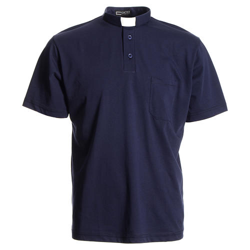 Catholic Priest polo shirt in navy blue, 100% cotton 1