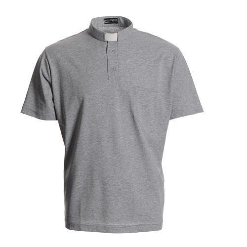 Clergyman polo shirt in grey, 100% cotton 1