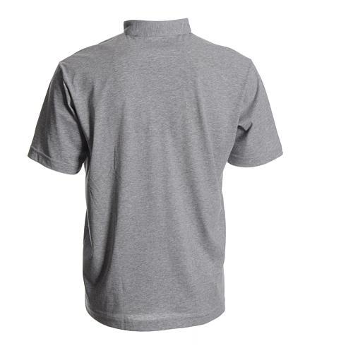Clergyman polo shirt in grey, 100% cotton 2