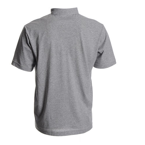 Polo camiseta clergy gris 100% algodón 2