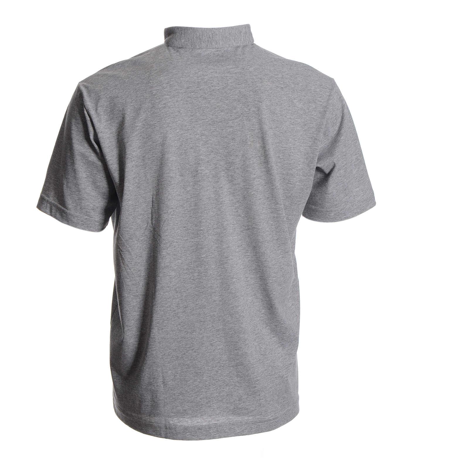 Koszulka polo z kołnierzykiem na koloratkę szara 100 bawełna  1EIol