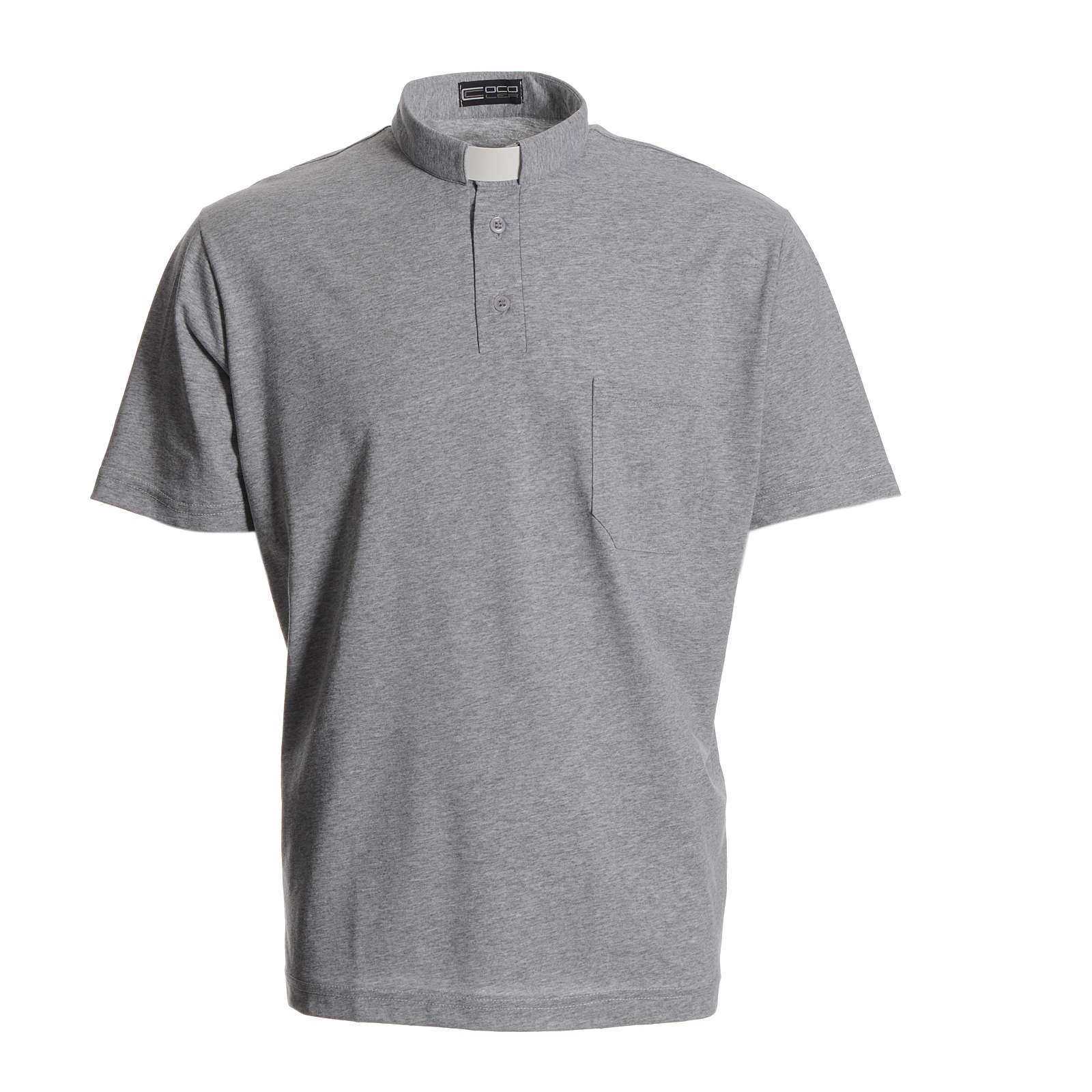 Camisa polo clergy cinzento 100% algodão 4