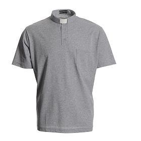 Camisa polo clergy cinzento 100% algodão s1