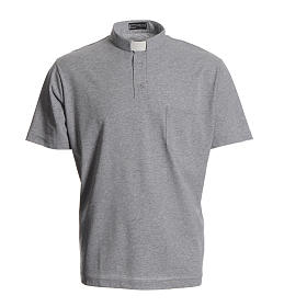 Priest grey polo shirt in cotton s1
