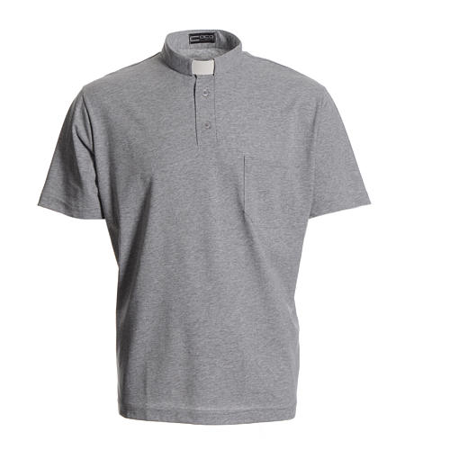 Priest grey polo shirt in cotton 1