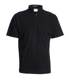 Polo clergy noir 100% coton s1