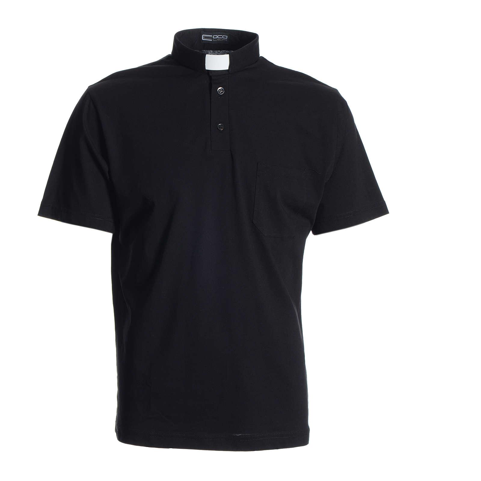 Polo maglia clergy nero 100% cotone 4