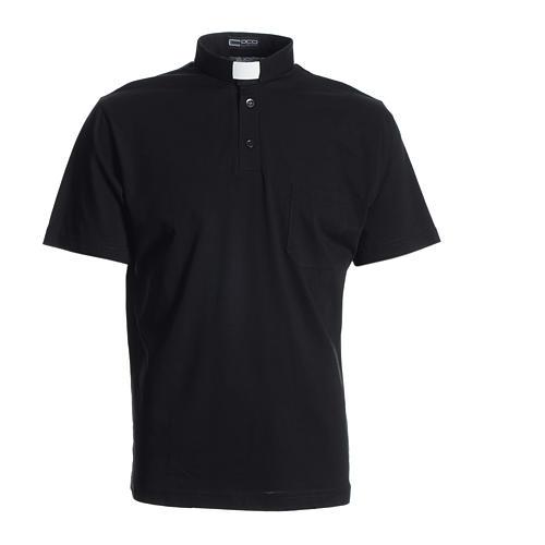 Polo maglia clergy nero 100% cotone 1