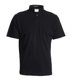Koszulka polo z kołnierzykiem na koloratkę czarna 100% bawełna s1
