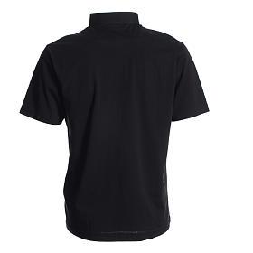 Koszulka polo z kołnierzykiem na koloratkę czarna 100% bawełna s2