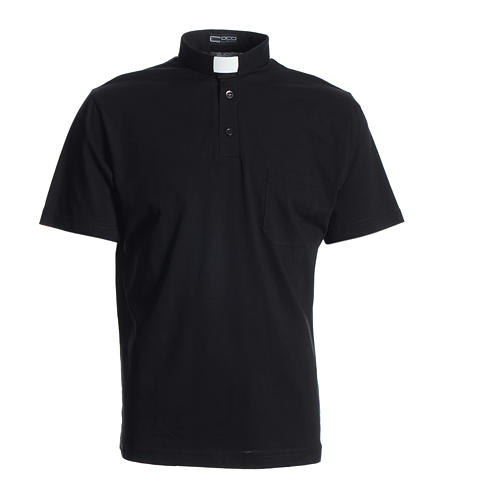 Koszulka polo z kołnierzykiem na koloratkę czarna 100% bawełna 1
