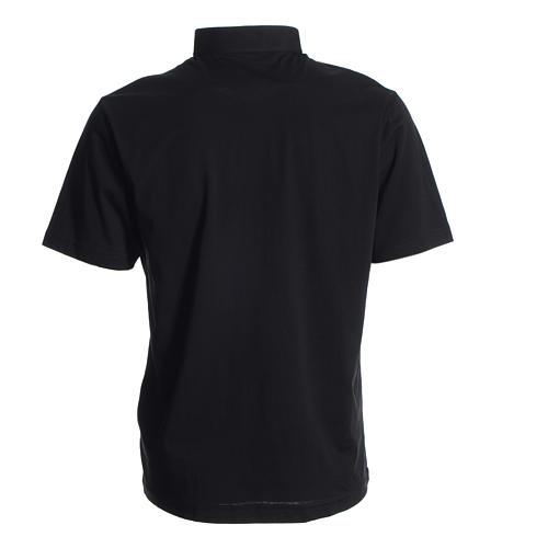 Koszulka polo z kołnierzykiem na koloratkę czarna 100% bawełna 2