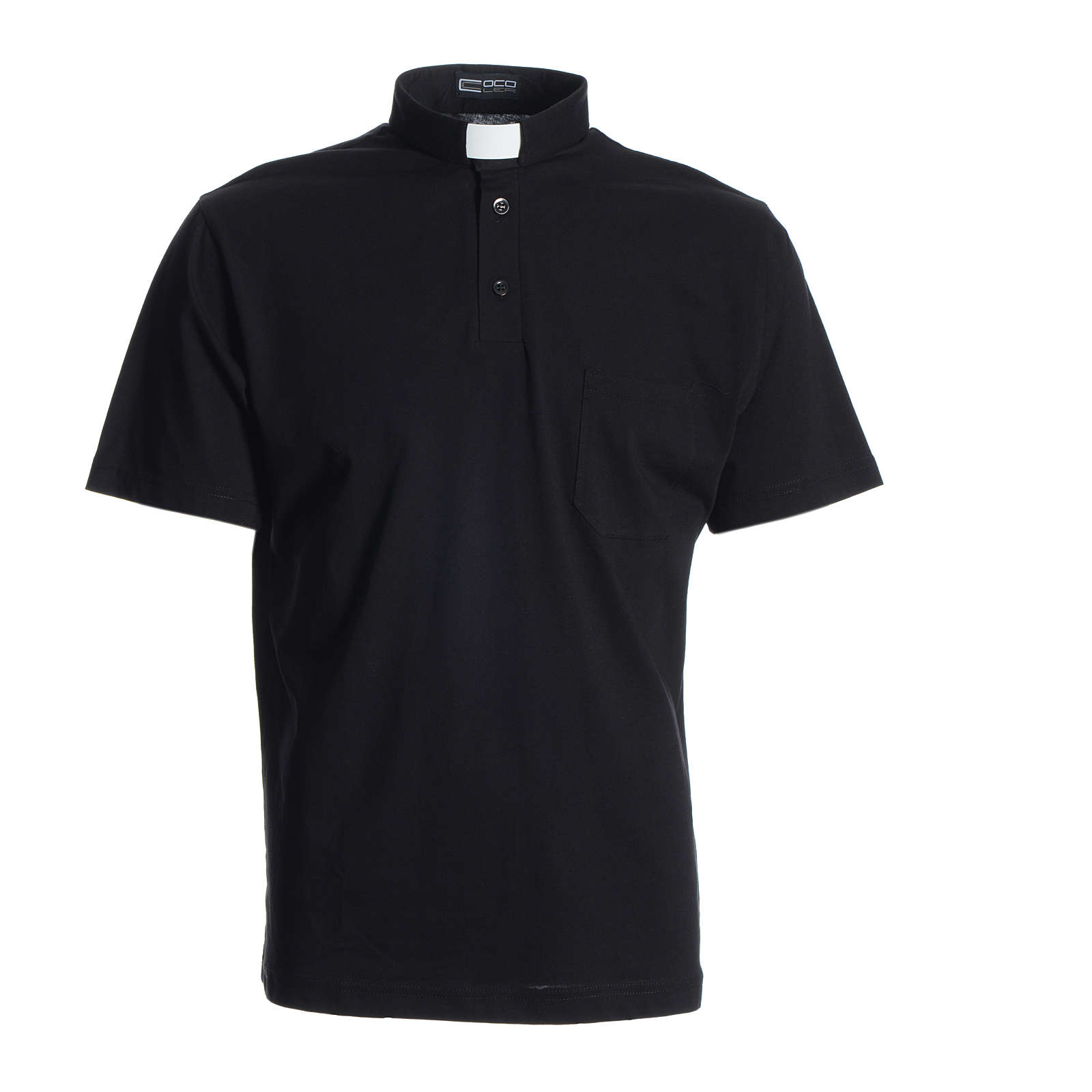Camisa polo clergy preto 100% algodão 4