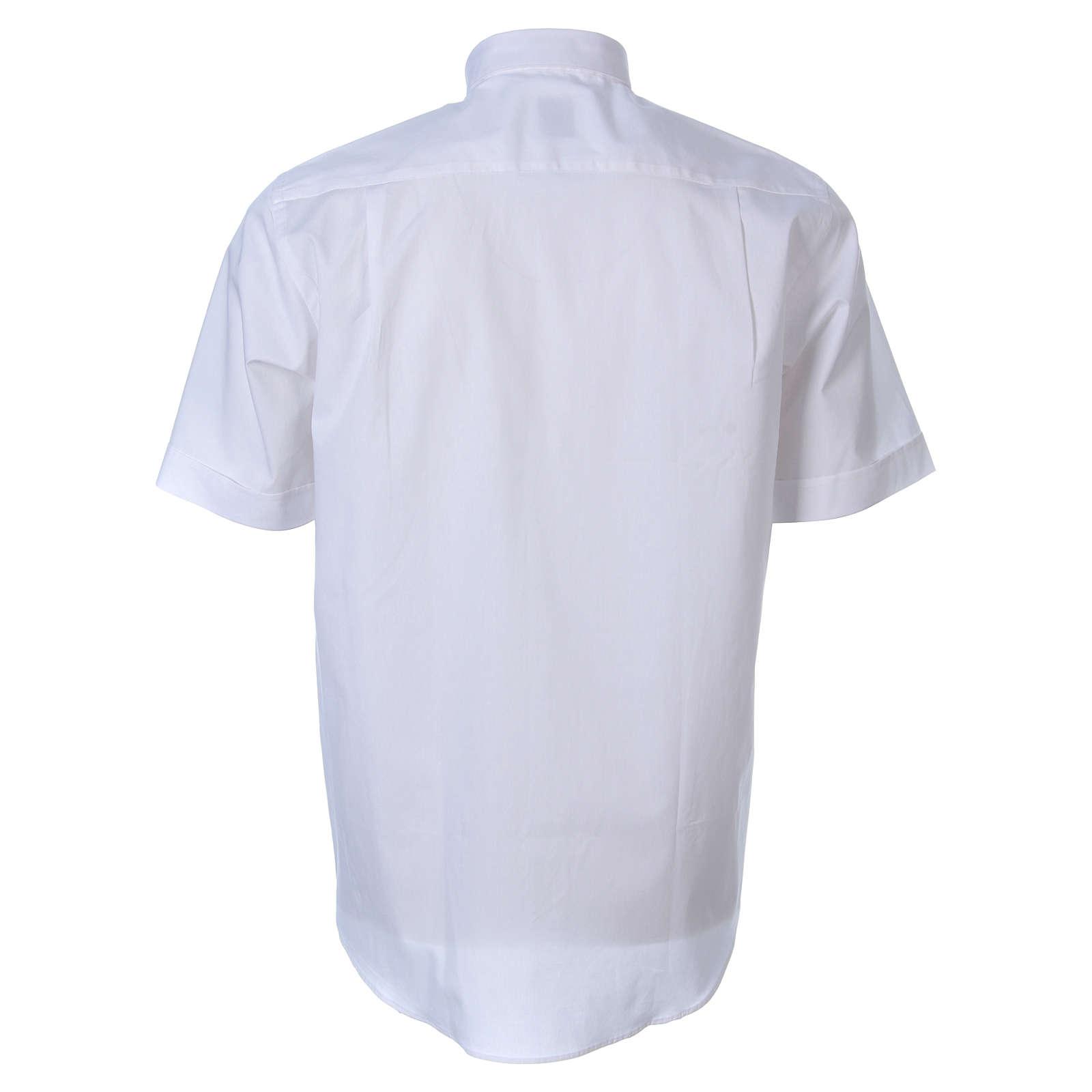 STOCK Camicia clergy manica corta popeline bianca 4