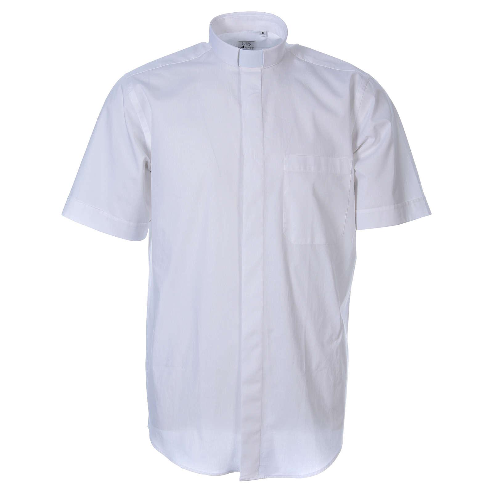 STOCK White short sleeve clergy shirt, poplin 4